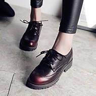 נשים-נעלי אוקספורד-עור-נוחות-שחור-קז'ואל-עקב עבה