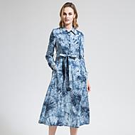 BORME Women's Shirt Collar Long Sleeve Trench Coat Light Blue-Y049