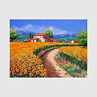 מצויר ביד L ו-scape נוף אבסטרקט פרחוני/בוטני ציורי שמן,סגנון ארופאי מודרני פסטורלי פנל אחד בד ציור שמן צבוע-Hang For קישוט הבית