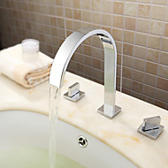 Contemporary /Widespread with  Ceramic Valve Two Handles Three Holes for  Chrome  Bathtub Faucet / Bathroom Sink