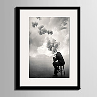 E-HOME® Framed Canvas Art, Thinking of The Balloon Framed Canvas Print One Pcs