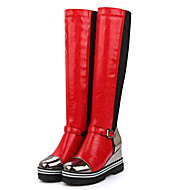 Støvler-Kunstlæder-Modestøvler-Dame-Sort Rød Sølv-Kontor Fritid-Kilehæl