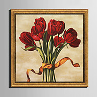 E-HOME® Framed Canvas Art,  Red Tulip Framed Canvas Print One Pcs