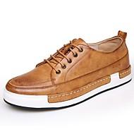 Herre-Lær-Flat hæl-Komfort / Rund tå / Lukket tå-Flate sko-Fritid-Svart / Brun / Gul / Grå