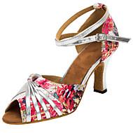 Chaussures de danse(Rose) -Personnalisables-Talon Personnalisé-Satin-Latine / Salsa