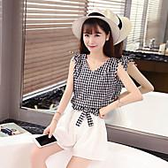 Women's Casual/Daily Cute Summer Tank Top PantPrint Round Neck Sleeveless Blue / Black Others Medium