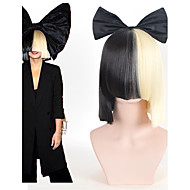 Halloween Party Online SIA Alive This Is Acting Half Black & Blonde Short Wig with Bowknot Accessory Costume Cosplay Wig