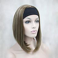 новая мода золотисто-коричневого цвета с блондинка подчеркивается 3/4 парик с оголовье женщин короткий прямой синтетический парик половины
