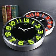 Moderno/Contemporâneo Família Relógio de parede,Redonda Alúminio 12 INCH Interior Relógio