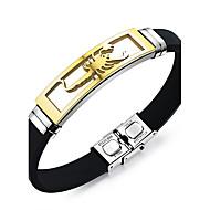 Herrn ID Armbänder Modisch Vintage Rock individualisiert Punkstil Silikon Stahl Geometrische Form Silber Golden Schmuck FürAlltag Normal
