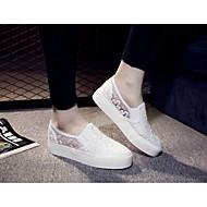 נשים-נעליים ללא שרוכים-תחרה-נוחות-שחור / לבן-שטח / קז'ואל-עקב שטוח