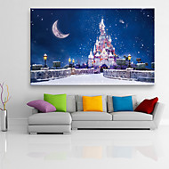 E-HOME® Stretched LED Canvas Print Art Castle in The Snow Christmas Series LED Flashing Optical Fiber Print One Pcs