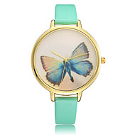 European style Simple fashion Woman watches butterfly Fine Leather Quartz watch relogio feminino