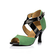 Na míru-Dámské-Taneční boty-Latina-Semiš-Vysoký úzký-Zelená