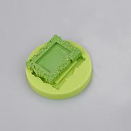 Rectangle photo frame flower shape silicone cake mold for fondant decoration