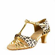 Sapatos de Dança(Leopardo) -Feminino-Personalizável-Latina