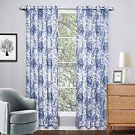 Two Panels Modern Floral / Botanical Living Room Polyester Sheer Curtains For Window 140cm Per Panel