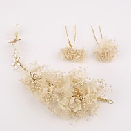Women's Flax Headpiece-Wedding / Special Occasion Flowers / Hair Pin 3 Pieces Clear / White