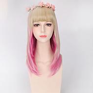 mode kort rak rosa blond blandad färg cosplay syntetiska peruker