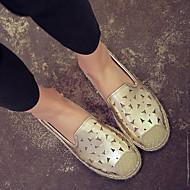 Dame-Kunstlær-Flat hæl-Komfort-一脚蹬鞋、懒人鞋-Fritid-Sølv / Gull