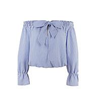 3/4 ærmelængde Bateau-hals Medium Kvinders Blå Stribet Alle årstider Vintage Plusstørrelser Skjorte,Bomuld