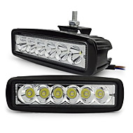 exLED 18W LED White 6500K 1800lm Waterproof Car Light - Black (2PCS)