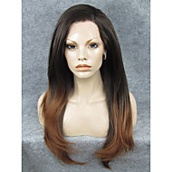 IMSTYLE 24Natural looking Brown Dark Root Straight Synthetic Lace Front Wig