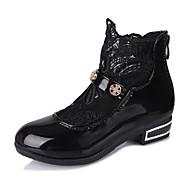 לבנות-מגפיים-PU-נוחות-שחור ורוד לבן-יומיומי-עקב נמוך