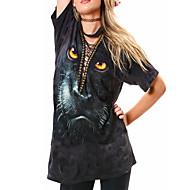 Polyester Sort Solid Kortermet,V-hals T-skjorte Trykt mønster Sommer / Høst Sexy Ut på byen / Party/Cocktail Dame