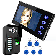Endio touch-tast 7 lcd fingeraftryksgenkendelse video dør telefon intercom system ir kamera hd 1000 tvline