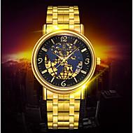 BOSCK® Men's  Automatic Mechanical Hollow Dial Luminous Calendar World Map Gold Steel Band Wrist Watch