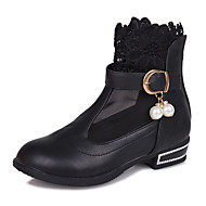 Girl's Boots Winter Comfort / Round Toe PU Dress Low Heel Others / Hook & Loop Black / Pink / Red Others