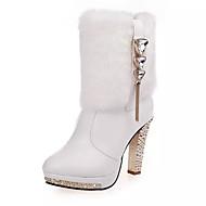 Feminino-Botas-Saltos / Conforto / Bico Fechado / Botas da Moda-Salto Agulha-Preto / Branco-Couro-Escritório & Trabalho / Social / Casual
