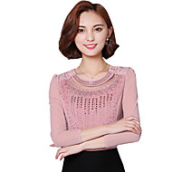 Spring Fall Women's Going out Fashion Wild Solid Color Patchwork Round Neck Long Sleeve Shirt