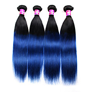 4 Bundles 1b Blue Ombre Straight Virgin Hair Extensions 2016 Fashion Malaysian  Ombre Weave Black Blue Ombre Hair