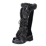 Dame-Kunstlær-Lav hæl-Snøstøvler-Støvler-Formell-Svart Hvit Sølv
