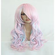 υψηλής ποιότητας μπλε μείγμα μακρύ ροζ 70 εκατοστά κυματιστό Απόκριες συνθετικό cosplay περούκα lolita