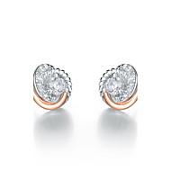 SILVERAGE 925 Sterling Silver Love Knot Rose Gold Stud Earrings Fine Jewelry Women AAA Cubic Zirconia