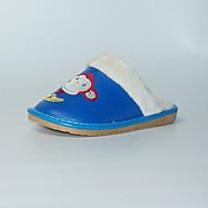 Unissex-Chinelos e flip-flops-Chanel-Rasteiro-Azul-Couro Ecológico-Casual