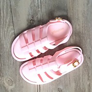 女の子 サンダル スリングバック ポリ塩化ビニール 夏 カジュアル スリングバック フラットヒール ブラック フクシャ ピンク フラット