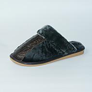 Pantofle a Žabky-Kůže-S páskem-Pánské-Černá-Běžné-Plochá podrážka