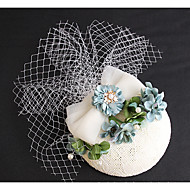 Wedding Veil Two-tier Veils for Short Hair Headpieces with Veil Lace Applique Edge Tulle