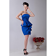 Short / Mini Satin Sexy Bridesmaid Dress - Sheath / Column Strapless with Ruffles