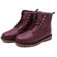 Herre-PU-Flat hæl-Komfort-Støvler-Fritid-Svart Brun Rød