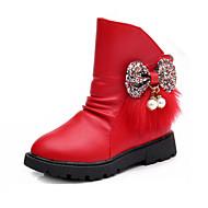 לבנות-מגפיים-PU-נוחות-שחור אדום כסוף-שמלה יומיומי-עקב שטוח