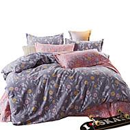 פרחוני סטי שמיכה 4 חלקים כותנה דוגמא מרופד כותנה קווין / קינג כיסוי שמיכת יחידה 1 / כריות מיטה 2 יחידות / סדין יחידה 1