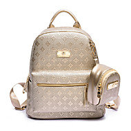 Casual Backpack Women PU Beige Gold Black