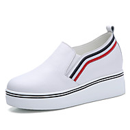 נשים-נעליים ללא שרוכים-עור-פלטפורמה נוחות-שחור לבן-שטח משרד ועבודה יומיומי-עקב וודג' פלטפורמה