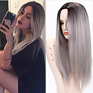 ombre grigio parrucche parrucca femminile parrucche sintetiche lunghe calore capelli dritti resistenti parrucche sintetiche