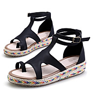 Women's Sandals Summer Platform / Toe Ring / Creepers PU Outdoor / Casual Platform Buckle / Braided Strap Black /